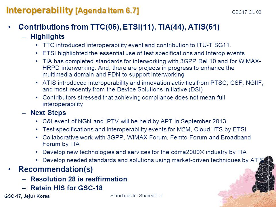 Interoperability [Agenda Item 6.7]